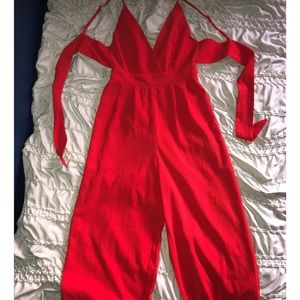 M Boutique red formal flare jumpsuit - LIKE NEW